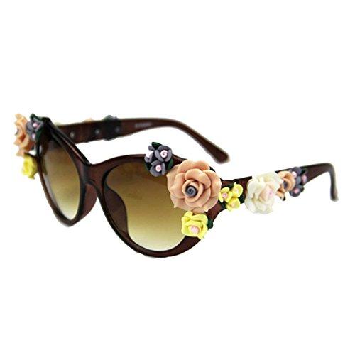 Minzhi Blumen-Dekor-Frauen-M?dchen-runder geformter Kunststoffrahmen Sonnenbrille UV400 Schutz PC-Objektiv Rose Brillen Outdoor-Brillen