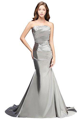 Babyonline Damen Silber Lang Mermaid Mit Applikation Abendkleider Ballkleid Brautjunfernkleider...