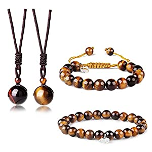 Adramata Tigerauge Armband Frauen Männer Perlen Stein Armband Halskette Paar Schmuck Set 8 MM 10 MM