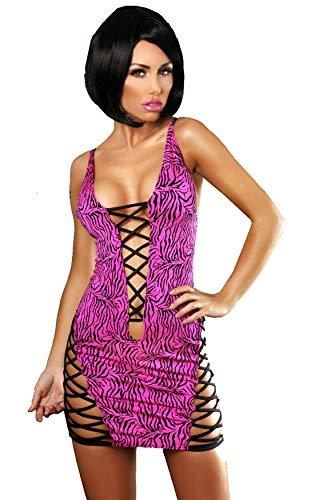 Cindio sexy verführerisch Clubwear Gogo Kleid schwarz pinkes Minikleid Zebra von Lolitta Dessous. (BITTE UNBEDINGT UNSERE GROESSENTABELLE BEACHTEN - BILD LINKS!). Größe: S/M, L/XL (L/XL (38-42)) (Rosa Zebra-kleid Heiß)