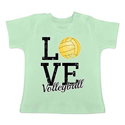 Sport Baby - Love Volleyball Gold - 12-18 Monate - Mintgrün - BZ02 - Baby T-Shirt Kurzarm -
