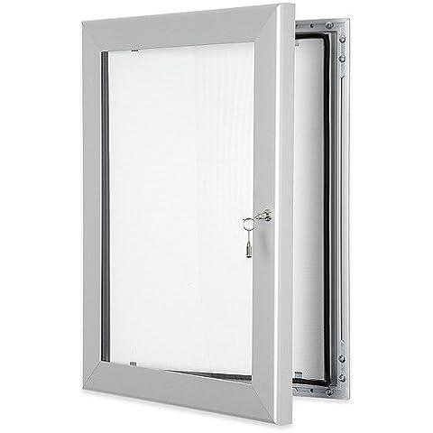 Tablón de anuncios con corcho y puerta con cerradura, A0(15x A4), sellado impermeable, para uso en interiores o