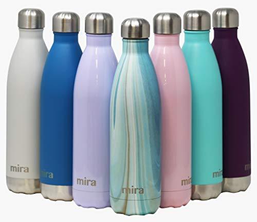 MIRA vakuumisolierte Wasserflasche aus Edelstahl | Schlanke auslaufsichere doppelwandige Flasche | Hält Getränke 24 Stunden lang kalt & 12 Stunden warm | 750 ml Aquamarin Granit