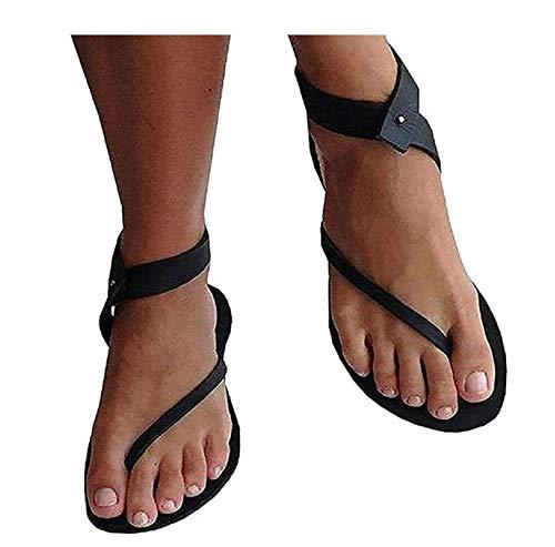 Lueyifs Damen Sandalen Flache Knöchel Schuhen Gladiator Flip Flop Thong Sommerschuhe Buckle Open Toe Sandal
