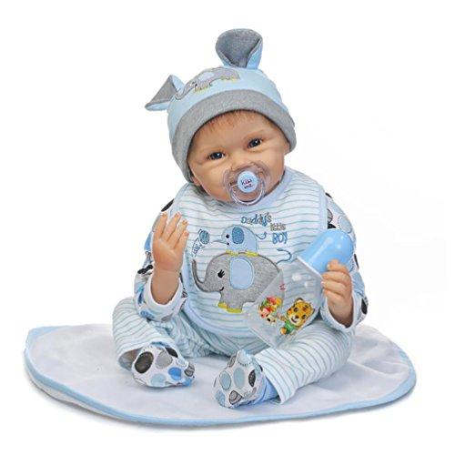 ZIYIUI Realistica Reborn Bambola Molle del Bambino di Simulazione del Silicone Vinile 22 Pollici 55 Centimetri Magnetica Bocca Bella Sveglia della Ragazza del Ragazzo Bambini Giocattolo (Ragazzo)