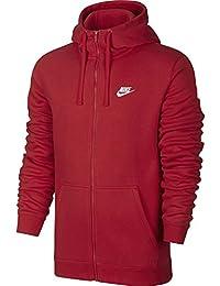 Nike M NSW Hoodie FZ FLC Club Chaqueta, Hombre, Rojo (University Red/White), L