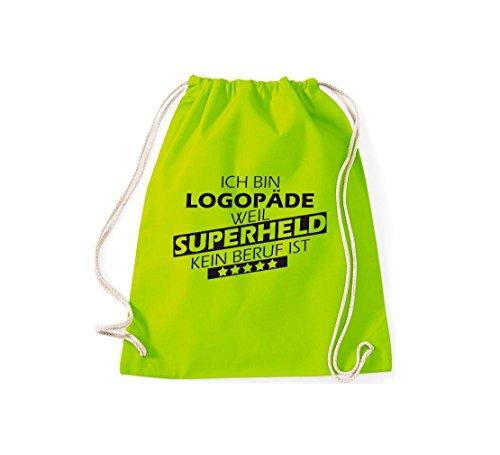 Shirtstown Turnbeutel Ich bin Logopäde, weil Superheld kein Beruf ist lime