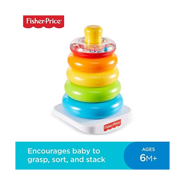 Fisher-Price FHC92 Rock-A-Stack, Baby Educational Stacking Toy Rings, Suitable for 6 Months+ 1