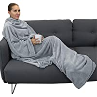 Vivezen ® Couverture polaire plaid intégral avec manches et poche - 2 tailles - 3 coloris - Norme CE