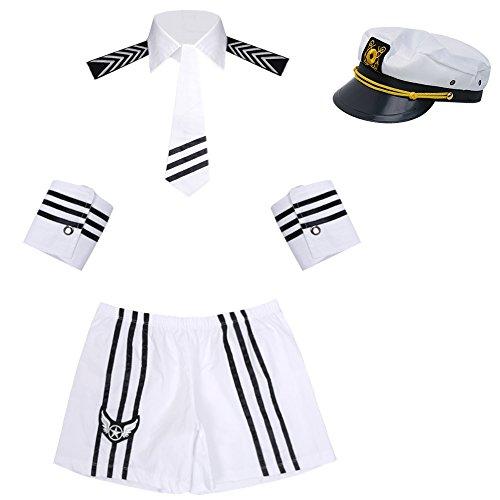 YiZYiF 4-tlg. Herren Kellner-Outfit Barkeeper-Kostüm Wetlook Erotik Männer Set: Schleife, Weste, Manschetten, Boxershorts Man Roleplay Dessous (Marine Sets)