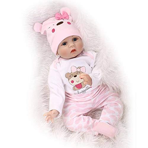 Nicery Reborn Baby Doll Renaissance Bébé Poupée Doux Simulation Silicone en Vinyle 18pouces 45cm Bouche Magnétique Vivant Garçon Fille Jouet Rose Chapeau RD45C108L