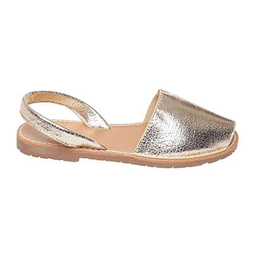 La Modeuse Sandales Plates en Simili Cuir Doré