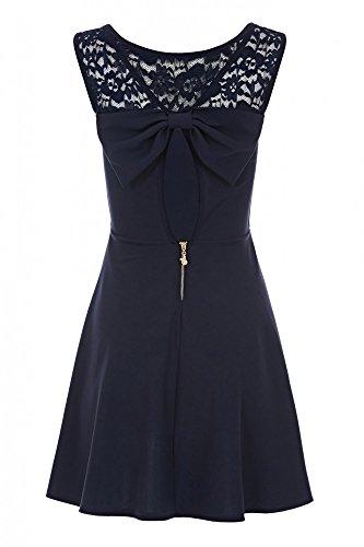 Laeticia Dreams Damen Kleid Mini mit Spitze und Schleife S M L Marineblau