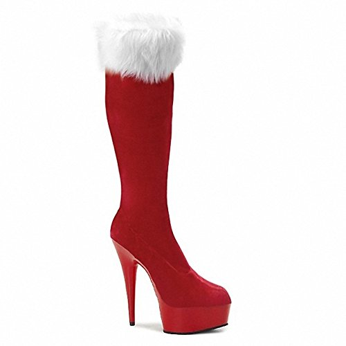 WIKAI Donna Stivali Stivali moda inverno pu vello Party & Sera giù Zipper Stiletto Heel luce nera rosso rubino chiaro 5in & oltre,rosso chiaro,US5.5 / EU36 / UK3.5 / CN35 Light Red