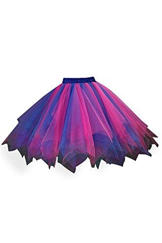 Damen Winter Rock 80er Jahre Unterrock tutu Minirock Rosa Blau Onesize