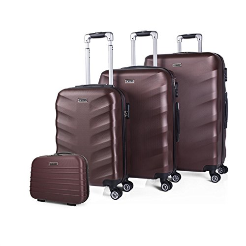 ITACA - I71330 Juego set 3 Maletas trolley 50/60 / 70 y Neceser ABS. Rígidas, resistentes y ligeras. Mango telescópico, 2 asas 4 ruedas dobles. Pequeña low cost, Color Granate