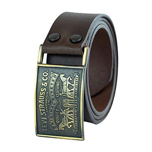 Levi's Cintura da uomo,3,8 cm, con placca, con chiusura a scatto Marrone Brown
