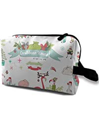 a713079f0cec Flamingo Christmas Illustrations Small Travel Toiletry Bag Super Light  Toiletry Organizer for Overnight Trip Bag