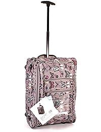 cabin-wb-bfp-01Gris Diseño de mariposas Dos Ruedas de la luz–Maletín de cabina Equipaje de Mano Vuelo Bolsa De Viaje