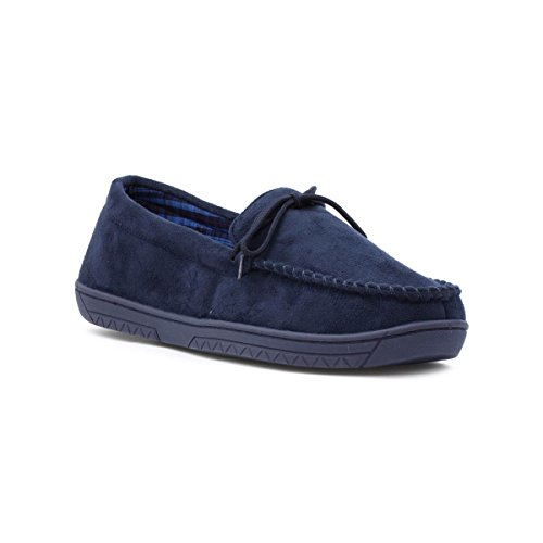 the-slipper-company-mens-navy-moccasin-slipper-size-10-uk-blue