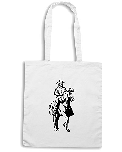 T-Shirtshock - Borsa Shopping FUN1069 cowboy western decals 11 24796 Bianco
