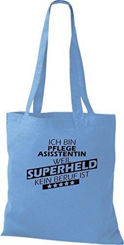 Stoffbeutel Ich bin Pflegeasisstentin, weil Superheld kein Beruf ist Sky