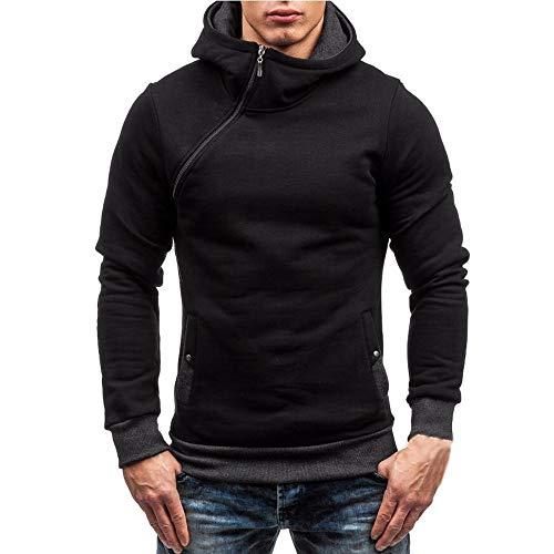 Riou Herren Langarm Hoodie Sweatshirt Slim fit Sweatjacke Kapuzenpullover Pullover T-Shirt Baumwoll Outwear Männer Herbst Winter Langarm Zipper Hooded Sweatshirt Tops (M, Schwarz) -
