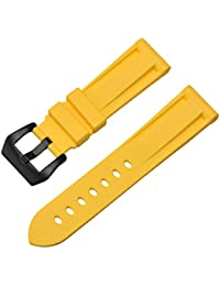 55fc9fb4aa3 24mm Yellow Silicone Watch Straps Rubber Mens Watch Band Waterproof Sport  Wristband Bracelet