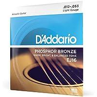 D'Addario EJ16 - Juego de Cuerdas para Guitarra Acústica de Fósforo/Bronce, 012' - 053, Naranja