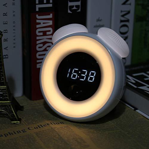 OUSENR Tischleuchte Wiederaufladbare Led-Nachtlicht Mit Digitaler Wecker Intelligent Sensor...