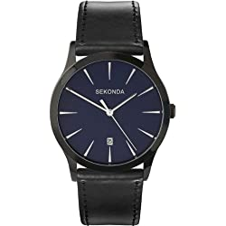 SEKONDA Men's Quartz Watch with Blue Dial Analogue Display and Black PU Strap 3536.27