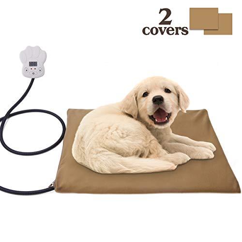 Unitify Heizmatte Heizdecke Haustier Heizkissen für Hunde und Katzen, regulierbare Temperatur Wasserfest Bettwärmer mit Überzug abnehmbar, Überhitzungsschutz 40 * 30 cm