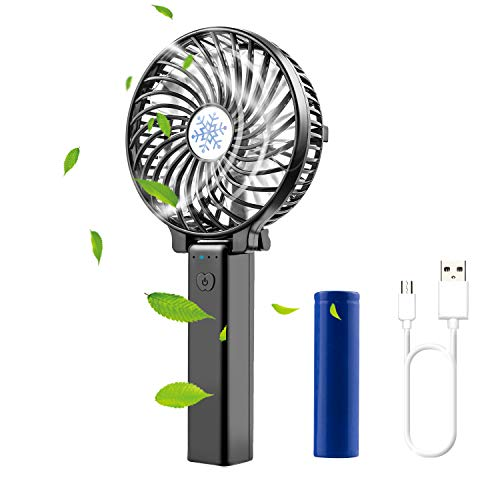 Diswoe Handventilator Tragbarer USB Ventilator Mini Lüfter Desk Fan Faltbar mit 2600mAh Aufladbarem Batterie LED 3 Geschwindigkeiten Kompatibel Laptop Multi Port Steckdose, für Haus, Büro, Reise -