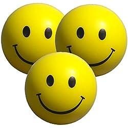 StressCHECK Pelota Anti Estrés - 3 x Bola Anti-Estrés con Diseño de Carita Sonriente - Bola Estrujable Amarilla para Alivio de Estrés, ADHD & Autismo