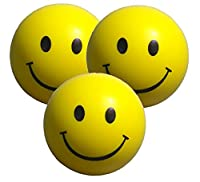 Stress Ball with Smiley Faces x 3 by StressCHECK - Yellow Squeezy Ball