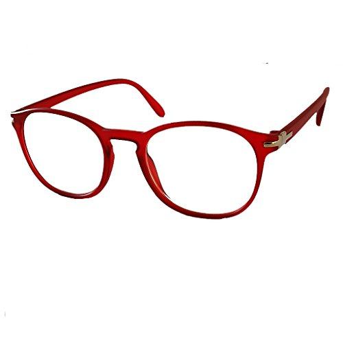Damen Lesebrille Herren Lesebrillen klassische Form und Farben leicht Federbügel Matt Look (2.5, rot)