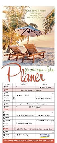 en Jahre 2020: Familienplaner mit 3 breiten Spalten. Familienkalender, literarischer Rentner-planer mit Ferienterminen, Vorschau bis März 2021 und tollen Extras. 19 x 47 cm. ()