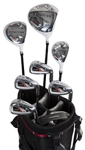 Pinemeadow Golf Men's Nitrix Pro Set Driver, 3 Wood, Hybrid, 6/7-PW Irons, Putter Bag (Right Hand, Graphite/Steel, Regular) by Pinemeadow Golf