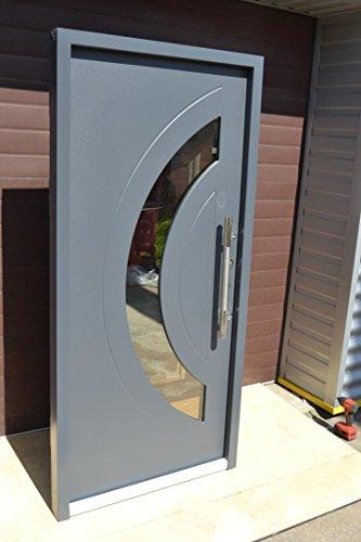 Nr.3, Design Haustür, Wohnungstür in Anthrazit 1000x2100 mm, Innen DIN rechts, Exklusive Haustür Türen Stoßgriff Haus-Eingangstüren Anthrazit Tür