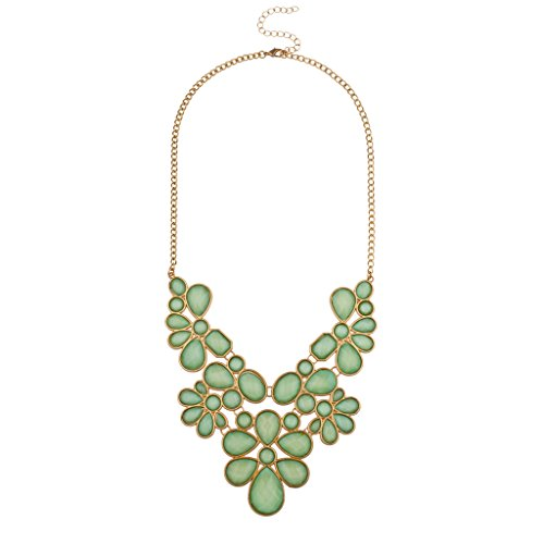 LUX Zubehör mint grün Blumen Statement Halskette Tiffany Toggle Halskette