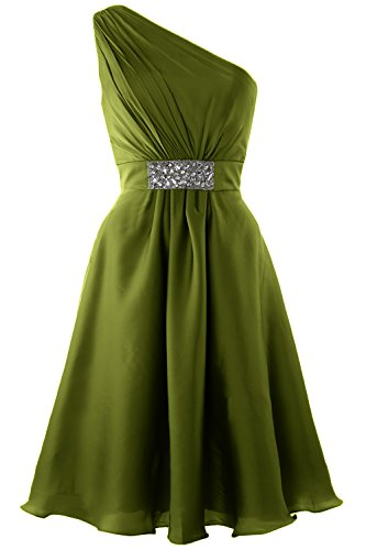 MACloth Elegant One Shoulder Cocktail Dress Short Wedding Party Formal Gown Olive Green