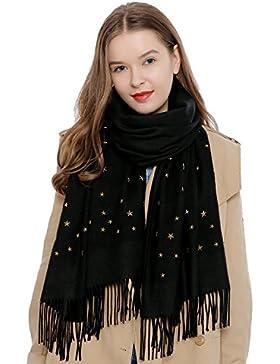 Sciarpa da donna con applicazioni in metallo rivetti borchia forma di stella 180 x 65 cm