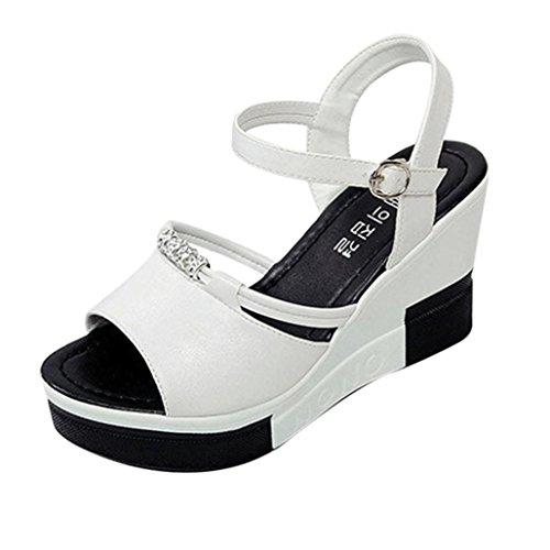 Damen Sommer Sandalen Xinan Schuhe Peep Toe römischen Flip Flops (36, Weiß)