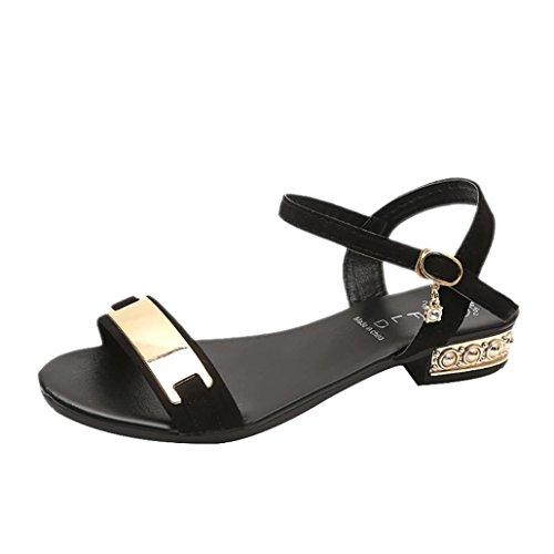 ღ uomogo elegante e fibbia in grassetto con punta scanalata 5-7 cm high-heel donne sandali baotou sandali - bestseller
