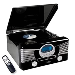 clip sonic ch1018e chaine hifi avec tourne disque st r o port usb noir high tech. Black Bedroom Furniture Sets. Home Design Ideas