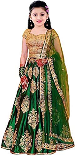 Suppar Sleave Girl's Tafetta silk Semi-Stitched girl's Lehenga Choli for 9-14 Year Girls (Green)