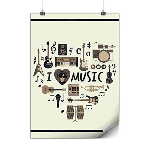 Wellcoda ich Liebe Schlagzeug Jazz Musik Plakat Melodie A1 (84cm x 60cm) Mattes schweres Papier, Ideal für die Gestaltung, Einfach zu hängen Kunst