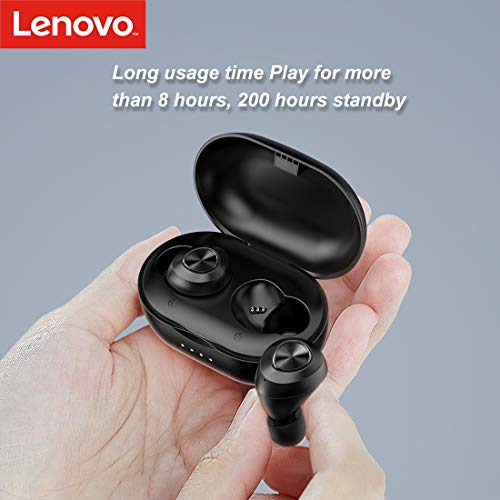 Lenovo HT10 True Wireless Earbuds Earphones Headphones (Bluetooth V5.0) in-Built Mic with Extra HD Sound AirBassRated IPX5 Waterproof and Sweatproof (Black) Image 4