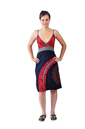Slip robe de femmes Avec colorés Mandala Broderie Rouge