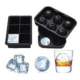 Yizhet Stampo per Cubetti di Ghiaccio in Silicone Ice Cube Tray 6 Cubetti Vaschette Ice Ball per Sfere di Ghiaccio per Il Whisky E Cocktail Tenere Le Bevande Refrigerata